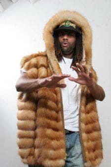 Amazing Mens Horizontal Red Fox Vest Fur Hood