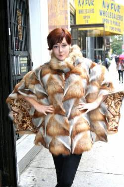 Bohemian Red Fox Fur Poncho