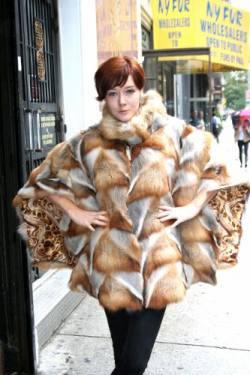Bohemian Red Fox Fur Poncho