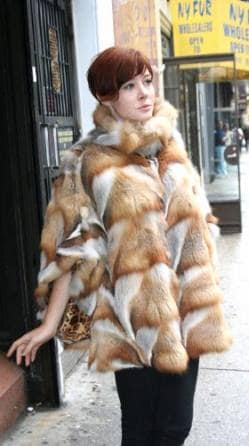 Bohemian Red Fox Fur Poncho NYC Style