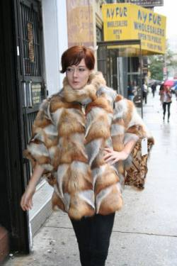 Bohemian Red Fox Fur Poncho NYC Style Marc Kaufman Furs NY Fur Store
