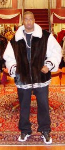 « Back to Catalogue Black White Mens Mink Bomber Jacket
