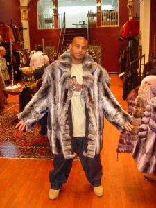 HBO WIRE J D Williams Mens Chinchilla Fur Bomber Hood Image