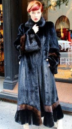 Full length Blackglama Ranch Mink Swing Fur Coat Demi Mink Fur ...