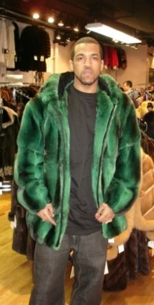 Lloyd Banks Emerald Green Mens Chinchilla Fur Bomber Jacket Image