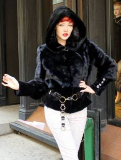 Ranch Mink Fur Jacket with Hood and Ring Belt 4 | MARC KAUFMAN FURS