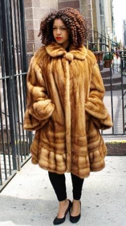 Whiskey Mink Fur Swing Stroller Bell Sleeves Directional Bottom 8877 Image