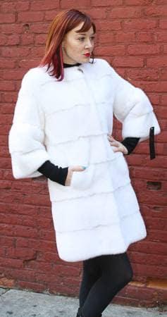 Classic White Mink Fur Stroller Short Sleeves