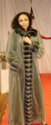 Marc Kaufman Furs Presents a green chinchilla fur coat with chinchilla fur tuxedo cuffs from Marc Kaufman Furs New York,Fur coats in Argentina, fur coats in Chile, fur coats in Venezuela, fur coats in Australia, fur coats in Belgium,fur coats in Netherlands, fur coats in Norway,fur coats in Sweden,fur coats in Dubais,fur coats in Egypt,fur coats in Egypt,fur coats in Kuwait, fur coats in South Africa,fur coats in Tunisia,fur coats in the Falklands