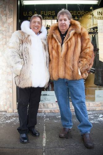 Joe Namath and Marc Kaufman pose in Fox Fur Bomber Jackets New York City, Los Angeles, Denver, Dallas, Salt lake City, Atlanta, Charlotte, Baltimore, Sydney, Buenos Aires, Caracas, Santiago,Lisbon