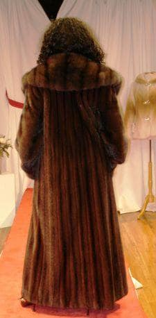 Mahogany Red Full Length Mink Coat Russian Sable Fur Collar Cold winters in Moscow