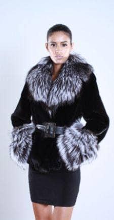 Black Sheared mink fur jacket Silver fox front trim