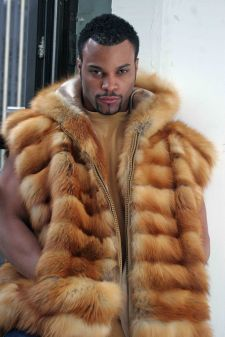 Men's Red Fox Hoodie Fur Vest