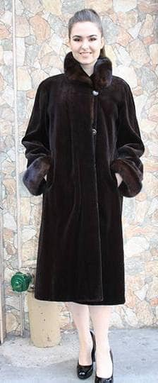 Brown Sheared Mink Fur Coat 8888 Image