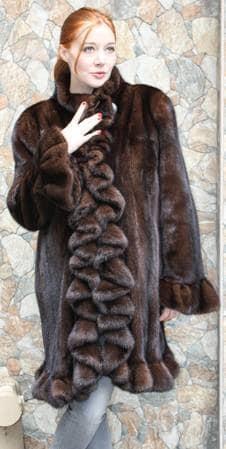 Demi Mink Ruffled Fur Stroller 7766 Image