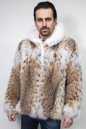 American Lynx Men's Hooded Bomber Fur Jacket 8833 | MARC KAUFMAN FURS