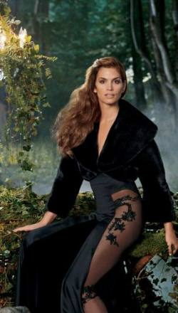 Cindy Crawford Styling Blackglama Mink Fur Jacket Sexy Black Dress