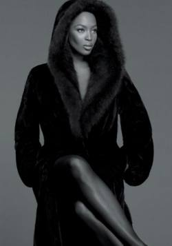 Naomi Campbell in Magnificent Blackglama Mink Coat Sable Fur Collar