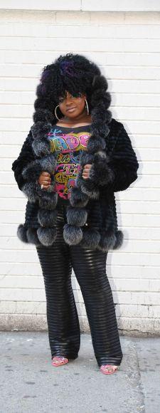 Rasheeda Wallace Fabulous mink Fox jacket