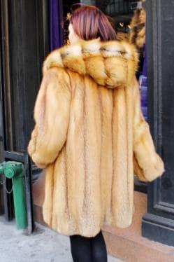 Amazing Red Fox Fur Stroller Cross Cut Hood marc Kaufman furs NYC