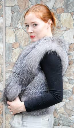 Indigo Fox Fur vest