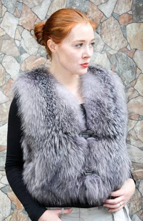 Saga Indigo Fox Fur vest Fur Store NYC Marc Kaufman Furs