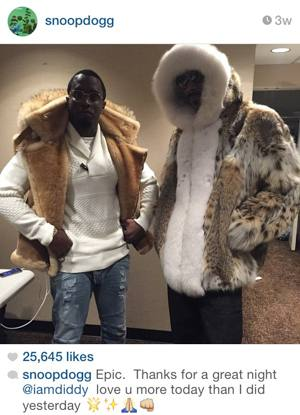 Snoop Dogg Lynx Fur Jacket White Fox Fur Hood Puffy Wearing Shearling Vest Image