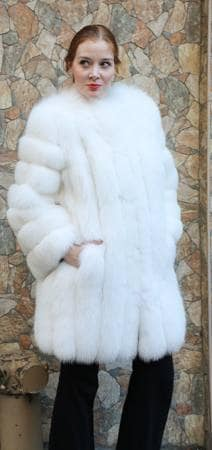 Saga White Fox Fur Stroller Diagonal Sleeves