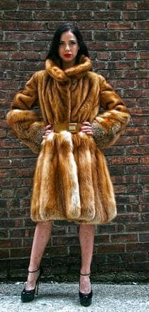 Stand Alone Whiskey Mink Red Fox fur Border Swing Stroller