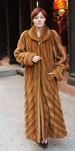 Full Length Whiskey Mink Coat Directional 2326MARC KAUFMAN FURS ...