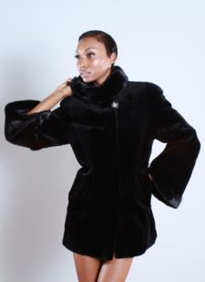 Marc Kaufman presents a black sheared mink fur jacket with bell sleeves from Marc Kaufman furs New York City ,Fur coats in Baltimore, fur coats in Chicago, fur coats in Detroit, fur coats in Los Angeles, fur coats in Detroit, fur coats in orange county, fur coats in Atlanta, fur coats in Denver, fur coats in Dallas, fur coats in Seattle, fur coats in Portland, fur coats in Santiago, fur coats in Portugal, fur coats in Madrid