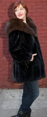 Black Mink Stroller Russian Sable Fur Lined Hood