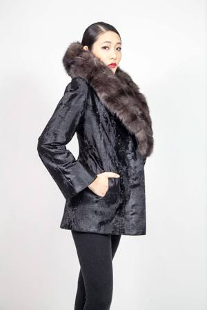 Black Russian Broadtail Fur Jacket with Wide Russian Sable Collar