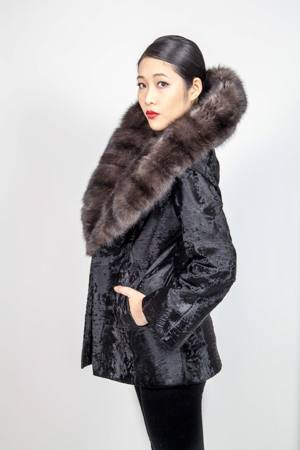Black Russian Broadtail Fur Jacket with Wide Russian Sable Shawl Collar
