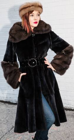 Ranch Mink Fur Stroller with Sable Cuffs and Collar 7449 Image Ranch Mink Fur Stroller with Sable Cuffs and Collar