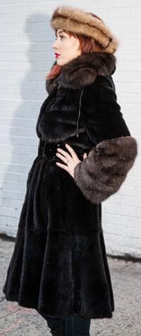 Classic Blackglama Mink Coat Russian Sable Collar Cuffs Marc Kaufman Furs NYC