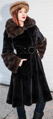 Perfect Evening Coat Classic Blackglama Mink Coat Russian Sable Collar Cuffs Marc Kaufman Furs NYC Fur Store