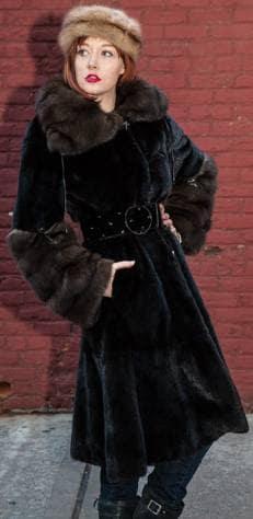 Perfect Evening Coat Classic Blackglama Mink Coat Russian Sable Collar Cuffs Marc Kaufman Furs NYC