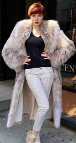 Amazing Full Length Canadian Lynx fur Coat Shawl Collar