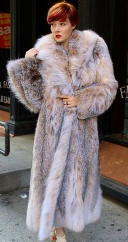 Full Length Canadian Lynx fur Coat Shawl Collar