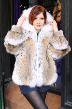 American Cat Lynx Bomber Jacket White Fox Trim Hood fur store nyc