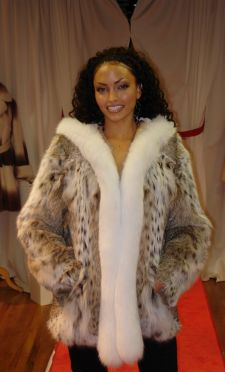 American Cat Lynx Fur Jacket White Fox Fur Fronts Hood made in USA