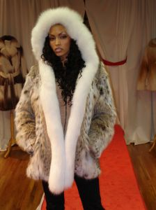 Cat Lynx Fur Jacket White Fox Fur Fronts Hood