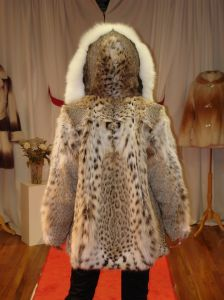 American Cat Lynx Fur Jacket White Fox Fur Fronts Hood made in USA ski aspen vail park city