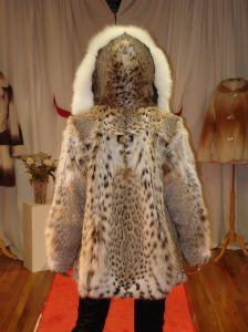 American Cat Lynx Fur Jacket White Fox Fur Fronts Hood made in USA ski aspen vail park city