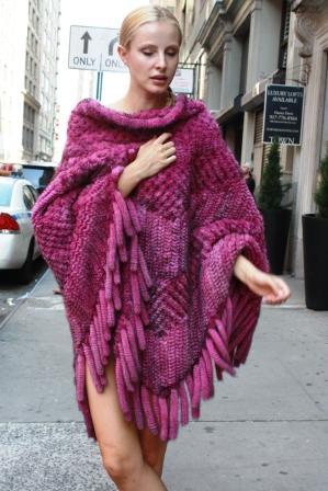 Plus Size Hot Pink Knit Mink Fur Poncho Fur Fringes 55678 Image
