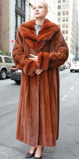 Marc Kaufman Furs Presents a cayenne red mink fur coat with matching sable fur collar from Marc Kaufman Furs New York,Argentina,United Kingdom,Austria,Denmark,Norway,Australia,Finland,Saudi Arabia,Oman,Kuwait,Jordan,Egypt