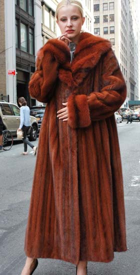 Cayenne Red Mink Coat Matching Sable Fur Collar 12476 Image