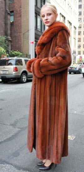 Marc Kaufman Furs Presents a cayenne red mink fur coat with matching sable fur collar from Marc Kaufman Furs New York,Argentina,United Kingdom,Austria,Denmark,Norway,Australia,Finland,Saudi Arabia,Oman,Kuwait,Jordan,Egypt