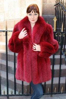 Marc Kaufman Furs presents a red blue fox fur jacket with fluffy shawl collar from Marc Kaufman Furs New York City,Fur coats in Baltimore, fur coats in Chicago, fur coats in Detroit, fur coats in Los Angeles, fur coats in Detroit, fur coats in orange county, fur coats in Atlanta, fur coats in Denver, fur coats in Dallas, fur coats in Seattle, fur coats in Portland, fur coats in Santiago, fur coats in Portugal, fur coats in Madrid